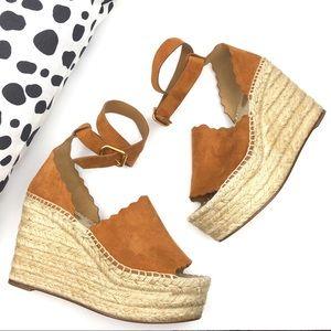NWOT Chloé Lauren Suede Espadrille Wedge Sandals.